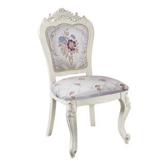 【AT HOME】英式優雅白色絨布花紋實木餐椅/休閒椅(艾唯兒)