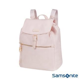 【Samsonite 新秀麗】KARISSA 經典時尚抽繩吊飾後背包(玫瑰粉)