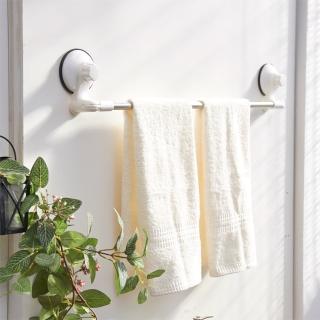 【ikloo 宜酷屋】TACO無痕吸盤系列-不銹鋼角落可用毛巾架