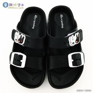 【童鞋城堡】雙排扣輕量童拖 麗莎與卡斯柏(GL2864-黑)
