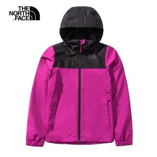 【The North Face】The North Face北面女款桃紫色防水透氣連帽衝鋒衣|49F81XV
