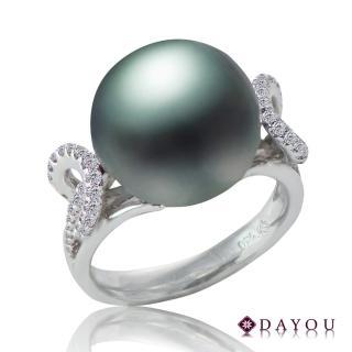 【DAYOU】天然南洋黑珍珠 真金真鑽 同心戒指 大祐(#10 南洋珠13-13.5MM 鑽石0.29CT附證 買一送一)