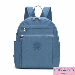 【i Brand】輕盈防潑水微甜尼龍口袋後背包(牛仔藍)