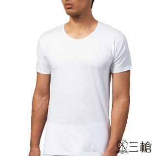 【三槍牌】時尚型男純棉圓領短袖汗布衫(白3件組 916)
