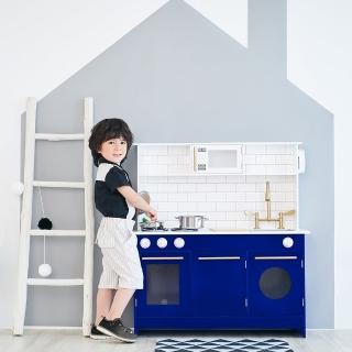 【Teamson】小廚師柏林現代木製廚房玩具(附6件配件)