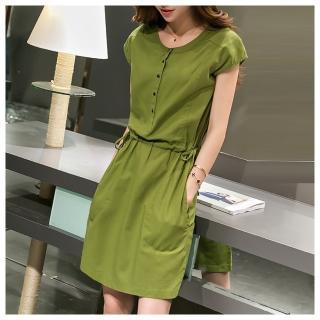 【ASister 小姊姊】排釦收腰顯瘦棉麻洋裝(2色_M-XXL_綠色/粉紅色)