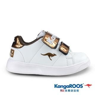 【KangaROOS 美國袋鼠鞋】童鞋 FLASH 經典小板鞋1979/休閒鞋/運動鞋(白/古銅-KK01341)