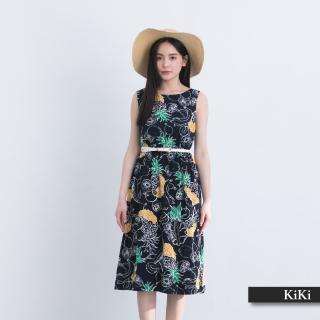 【KiKi】夏日水果花卉印花無袖-洋裝(藍色/版型顯瘦)