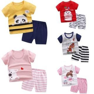 【Baby 童衣】二套組-兒童純棉短袖短褲家居服套裝(共21色)