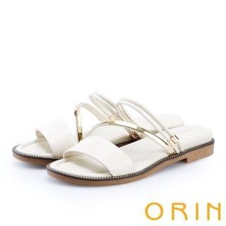 【ORIN】金屬斜邊飾條牛皮平底拖鞋(白色)