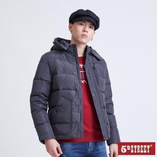 【5th STREET】男斜口袋羽絨外套-黑色