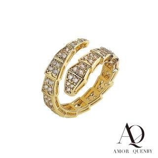 【AQ】豪邁帶鑽流線型香檳金開口可調節戒指(AMOR/Quenby/飾品/配件)