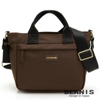 【BERNIS 貝爾尼斯】輕便尼龍 橫式輕巧休閒 手提側背方包-咖啡色(BNE20113-OF)