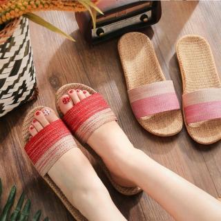 【WINCEYS】女用乾爽透氣亞麻防滑拖鞋