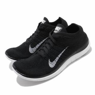 【NIKE 耐吉】慢跑鞋 Wmns Free 4.0 運動 女鞋 Flyknit 編織 赤足 跑鞋 健身 黑 白(631050-001)