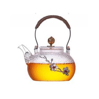 【古緣居】煮茶壺玻璃耐高溫加厚手工銅把提梁壺(贈送四個杯子)