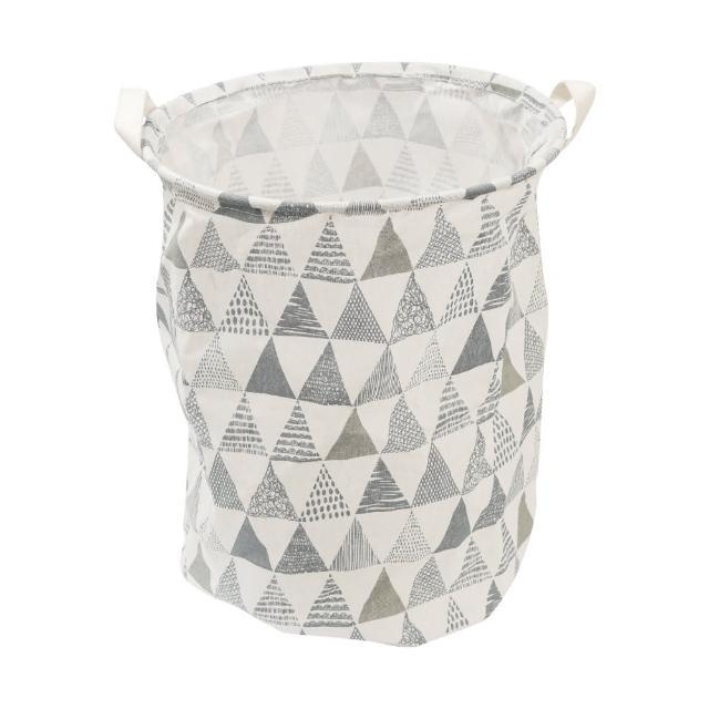北歐風洗衣籃收納筒-藍白山(收納籃