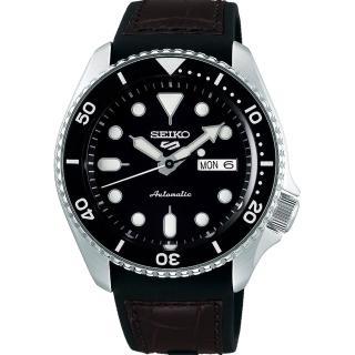 【SEIKO 精工】5 Sports 系列 黑面皮帶水鬼機械錶x咖啡色皮帶x42.5mm(4R36-07G0C/ SRPD55K2)