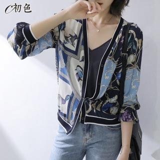 【初色】古典印花涼感防曬外套-藍色-96375(M-2XL可選)
