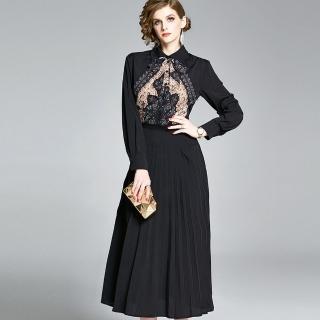 【a la mode 艾拉摩兒】可可色變形蟲小碎花黑百褶長洋裝(M-2XL)