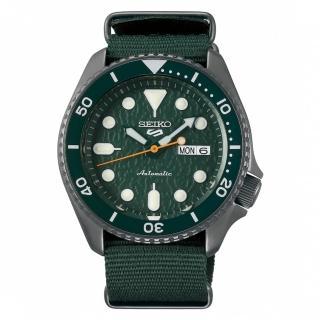 【SEIKO 精工】5 Sports 系列綠面帆布機械錶 x42.5mm(4R36-07G0H /SRPD77K1)