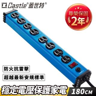 【Castle 蓋世特】鋁合金電源突波保護插座-3孔/8座(IA8晶湛藍)