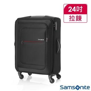 【Samsonite 新秀麗】24吋Populite四輪TSA超輕量可擴充布面行李箱(黑)