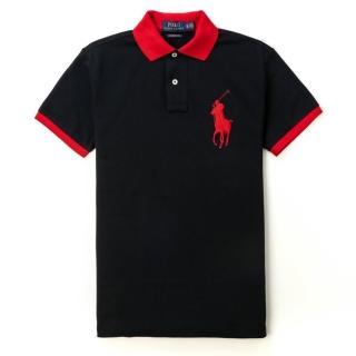 【RALPH LAUREN】Polo Ralph Lauren 經典電繡大馬立領印刷短袖Polo衫-黑色(CUSTOM SLIM FIT)