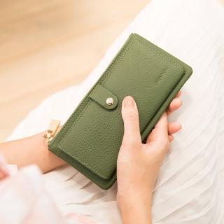 【CHENSON】真皮13卡超薄2.0典雅長夾皮夾手機包 海松綠(W28110-G)