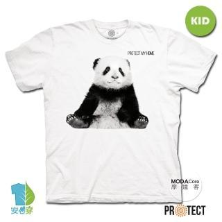【摩達客】美國The Mountain保育系列小貓熊 兒童幼兒 白色純棉短袖T恤(現貨)