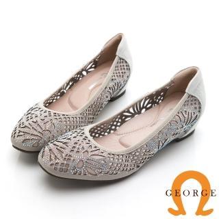 【GEORGE 喬治皮鞋】彩鑽花朵舒適小方頭平底鞋 -銀灰色