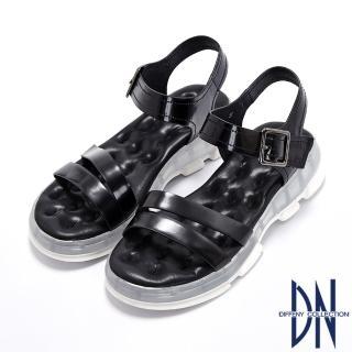 【DN】涼鞋_氣墊運動風牛皮厚底涼鞋(黑)