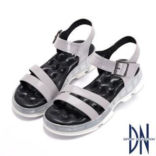 【DN】涼鞋_氣墊運動風牛皮厚底涼鞋(灰)