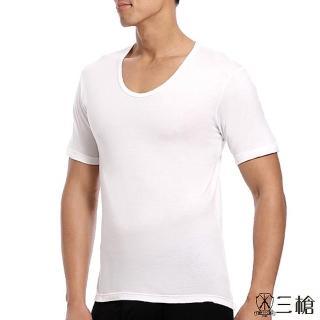 【三槍牌】精典型男金絲棉U領衫(白1件組)