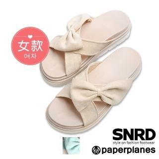 【Paperplanes】韓國空運來台。巴黎甜心蝴蝶結造型厚底涼拖鞋(7-0271/二色-現貨+預購)