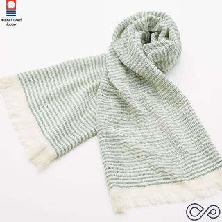 【今治織上】91%抗UV 多功能防曬巾-細條紋 綠色(日本今治認證毛巾專門店)