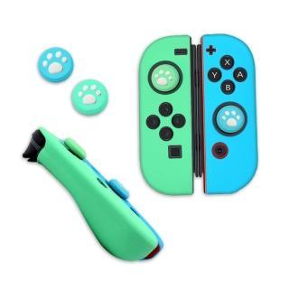 Switch副廠 主機Joy-Con 手把 矽膠套/果凍套(動物森友會 藍綠色)