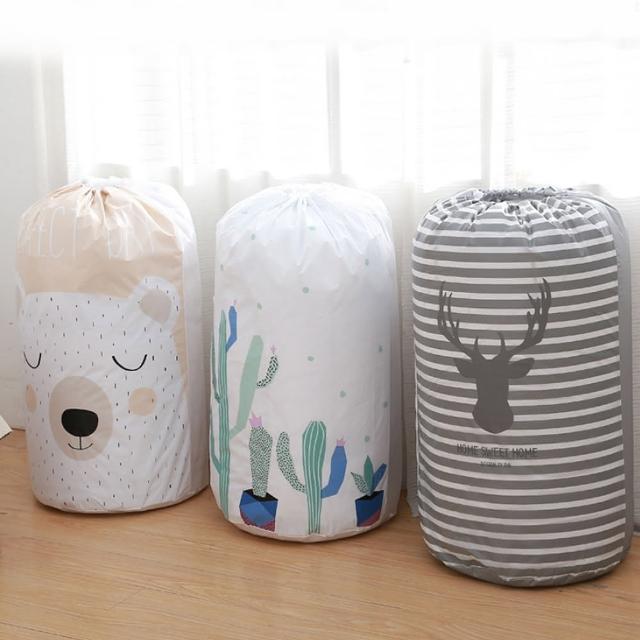 【E.City】4入-可愛動物圓形束口衣物棉被袋收納袋(材質輕巧)/