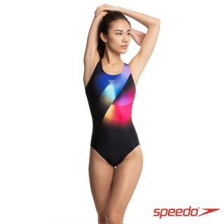 【SPEEDO】女 競技連身泳裝 Placement PWB(黑/彩)