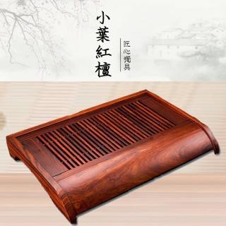 【原藝坊】天然小葉紅檀實木茶盤 樂天(約46*30*7CM)