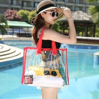 【AS 梨卡】大容量 PVC 防水 透明 沙灘包 海邊小物 收納包 收納袋 包包CLA105