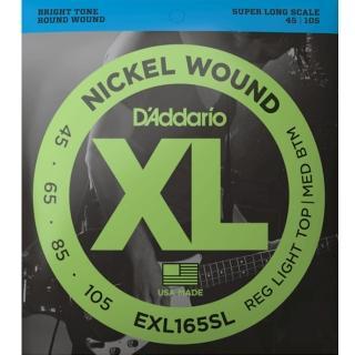 【D'Addario】EXL165SL 45-105 加長型貝斯四弦套弦(原廠公司貨)