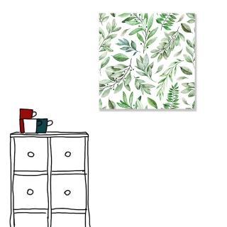 【24mama 掛畫】單聯式 北歐風 文青 ig風格 ins風 植物 葉子 手繪風 水彩風 樹葉 無框畫 40x40cm(淺草)