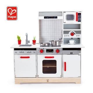 【Hape 愛傑卡】多功能木製料理廚台玩具(抽油煙機+廚台+微波爐+咖啡機)