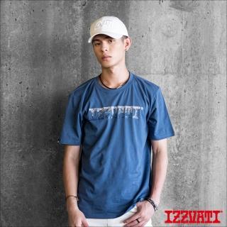 【IZZVATI】波光春雨短T-靛藍(手繪精緻膠印短T)