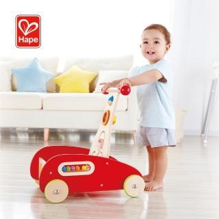 【Hape 愛傑卡】多功能繽紛木製學步推車(助步車)