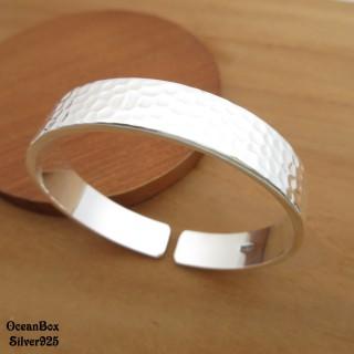 【海洋盒子】35g 質感手工敲面設計S999純銀開口式手環手鐲(925純銀開口式手環.附贈禮盒)
