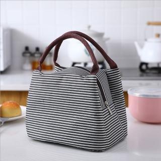 【PUSH!】居家生活用品新款條紋野餐包保溫包冰包防水便當包袋(二入S77)