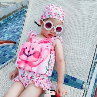 【AS 梨卡】女童 連身泳裝 兒童泳衣 裙式三角泳衣  自然浮力 印花 可愛 附泳帽CH664