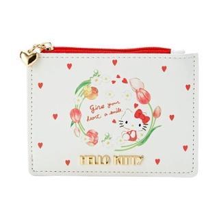 【小禮堂】Hello Kitty 皮質拉鍊票卡零錢包《米》收納包.證件夾.車票夾.春日新生活系列